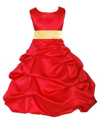 Red plain satin kids-frocks