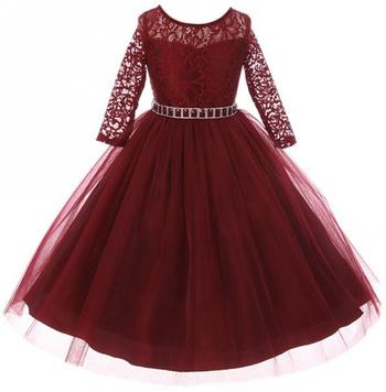 Maroon Plain Net Kids Girl Gowns
