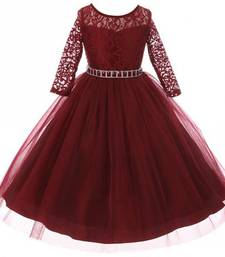 Maroon Plain Net Kids Girl Gowns
