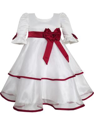 White  Plain Satin Kids Frocks