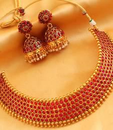 Buy AWESOME DESIGNER RED CHOKER NECKLACE SET-DJ03109 necklace-set online