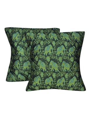Lal Haveli Elephant Design Throw Pillowcases Green Cushion Covers 16 x 16 inch Set of 2 Pcs