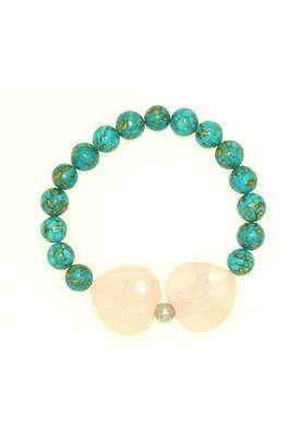 Piebee - Genuine Turquoise and Rose Bracelet