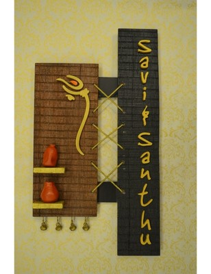 Karigaari Designer Couple with Terracotta Pots Wood Name Plate (45 cm x 45 cm x 45 cm)