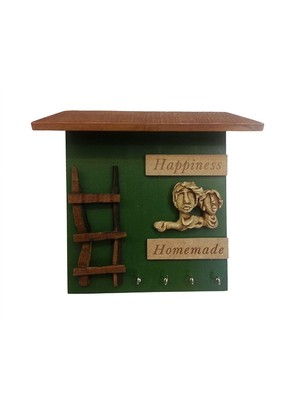 Karigaari India Hnadcrafted MDF Green and Brown Happiness Homemade Wooden Name Plate | Showpiece for Home  and Office