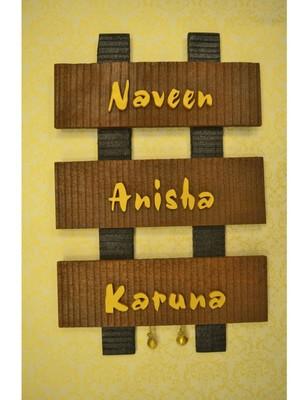 Karigaari India Sleeper Wood Designer Name Plate (Customizable)