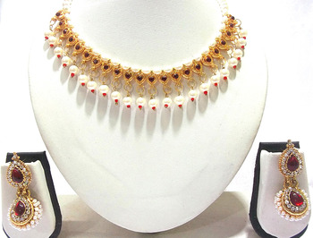 Maroon pearl Double Gota necklace set