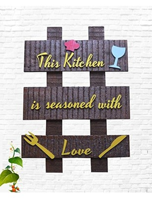 Karigaari India Wooden Kitchen Name Plate I Customized Name Plate I Door Signs I Door Boards I Name Board for House