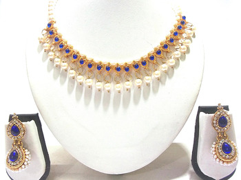 Blue heart pearl Double Gota necklace set