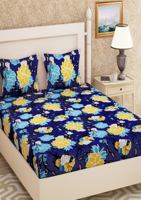 Emart 104 TC Cotton Double Floral Bedsheet (Pack of 1, Blue)