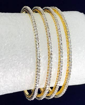 Set Of 4 Cz Gold Plated Ad Cubic Zirconia Bangles
