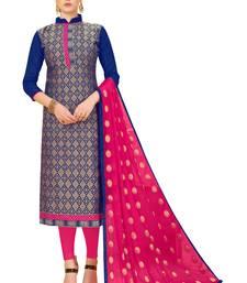 Buy Blue jacquard banarasi silk salwar salwar-kameez online