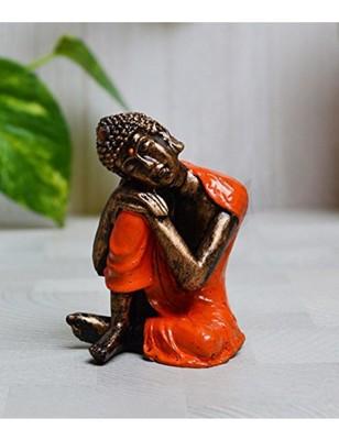 Karigaari Buddha Resting on Knee Polyresine Showpiece (7.62 cm x 5.08 cm x 7.62 cm)