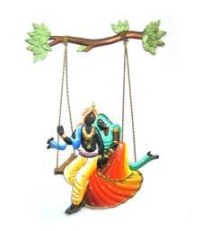 Craftter Iron Sheet Multi Color Radha Krishan Jhula-Wall Hanging-1 900 g (3cm * 45cm )