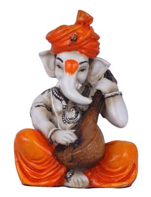 Karigaari Multicolor Ganesha Playing Veena Polyresine Showpiece (12.7 cm x 12.7 cm x 12.7 cm)