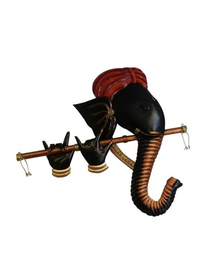 Karigaari India Wrought Iron multicolor Murli Ganesha hanging