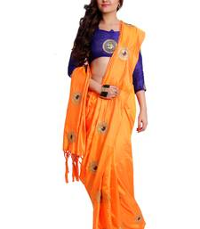 Buy Orange paper silk embroidered saree with unstitched blouse art-silk-saree online