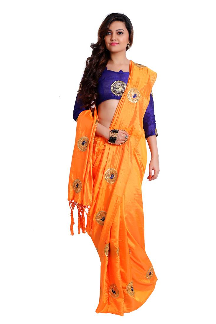 368be07f58c0a Orange paper silk embroidered saree with unstitched blouse ...