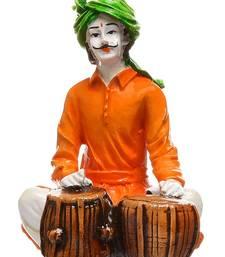 Karigaari Rajasthani Man Playing Tabla Polyresine Idol (15.24 cm x 15.24 cm x 15.24 cm)