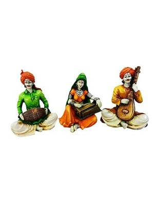 Karigaari Dholak, Harmony and Veena Polyresine Showpiece (28.4 cm x 22.71 cm x 18.29 cm, Set of 3)