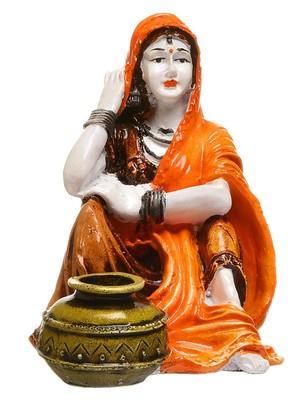 Karigaari Rajasthani Lady with Water Matka Showpiece Polyresine Showpiece (15.24 cm x 15.24 cm x 15.24 cm)