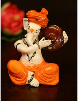 SN Handicrafts Ganesha Playing Dafli Polyresine Idol