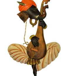 Karigaari Ganesha Playing Veena Iron Wall Hanging (30.48 cm x 5 cm x 43.18 cm)