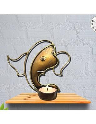 Karigaari India Iron Om Ganesha Candle Holder - Bronze