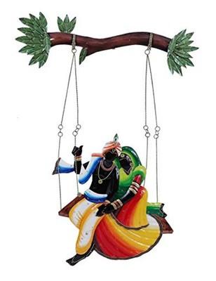 Karigaari India Wrought Iron Big Size Radha with Krishna on Swing Wall Hanging Showpiece Home Decor and Office
