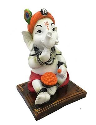 Karigaari Dhoti Baby Ganesha Eating Ladoo Resine Idol (0.15 cm x 0.1 cm x 0.08 cm)