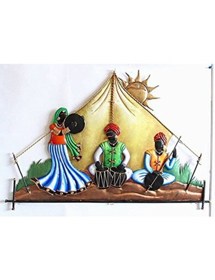 Karigaari India Wrought Iron Rajasthani Under Tent Wall Hanging- Multicolor (24 X 16 INCH)