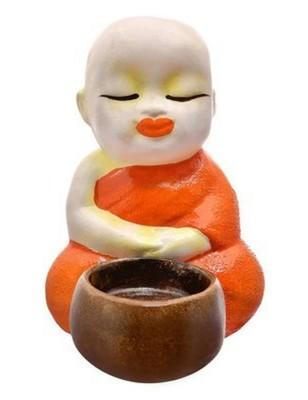 Karigaari Buddha Idol Monks Polyresine Candle Holder (12.7 cm x 12.7 cm x 15.24 cm)