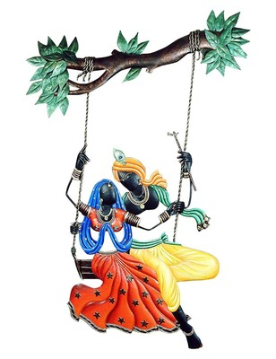 Shlok Collection Wrought and Cast Iron Radha Krishna Jhula Wall Hanging (38 cm x 3 cm x 78 cm)