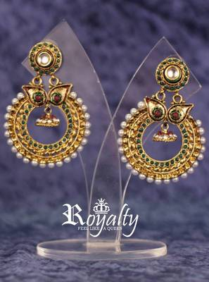 Royalty Kundan Pearls Polki Earrings