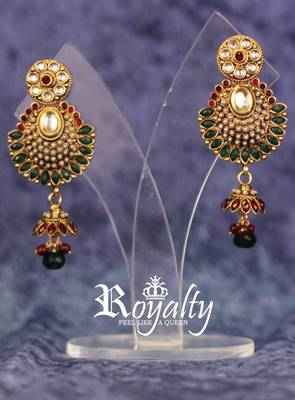 Royal Pearls Jhumka Earrings studded Gemstone