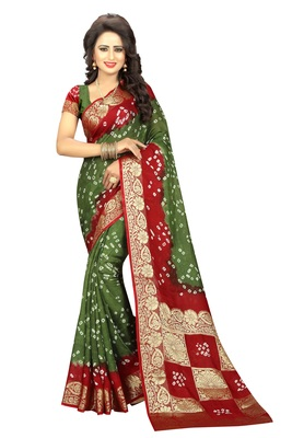 Mehendi printed art silk saree with blouse