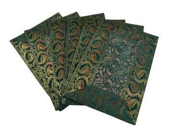 Lal Haveli Green Dining Table Mat Set of 6 silk Placemats Set Dining Table Mate Set