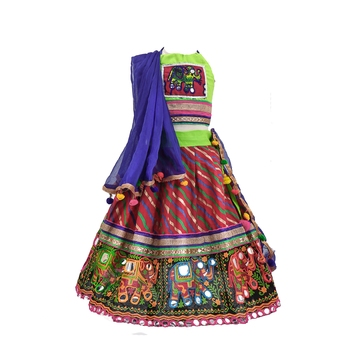 Multcolour embroidered cotton stitched lehenga