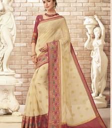 Buy Cream woven silk cotton saree with blouse kota-silk-saree online