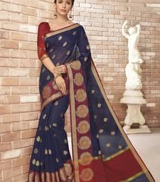 Purple woven silk cotton saree with blouse