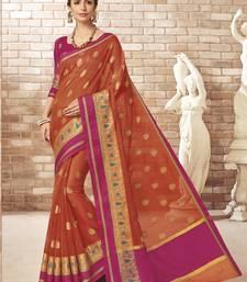 Orange woven silk cotton saree with blouse