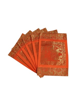 Lal Haveli Handmade Decorative Table Mats Set of 6 Silver Banarsi silk Fabric Kitchen Placemats Set for Dining Table