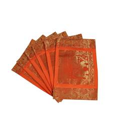 Lal Haveli Handmade Decorative Table Mats Set of 6 Silver Banarsi silk Fabric Kitchen Placemats Set for Dining Table table-mats-runner
