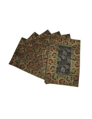 Lal Haveli Dining Table Mat Set of 6 Golden Work silk Placemats Set Best for Dining Table/Shelves 18 X 12 inches