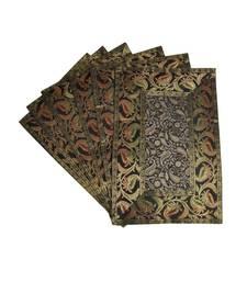 Lal Haveli Handmade Decorative Table Mat Set of 6 Banarsi silk Fabric Kitchen Placemats 18 X 12 inches