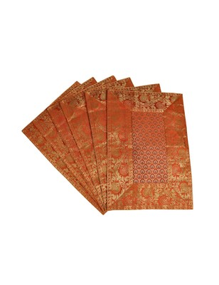 Lal Haveli Dining Table Mats 6 Pieces Banarsi silk Fabric Kitchen Placemats 18 X 12 inches