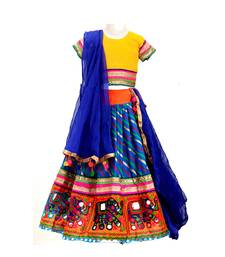 Blue embroidered multicoloured  cotton stitched lehenga
