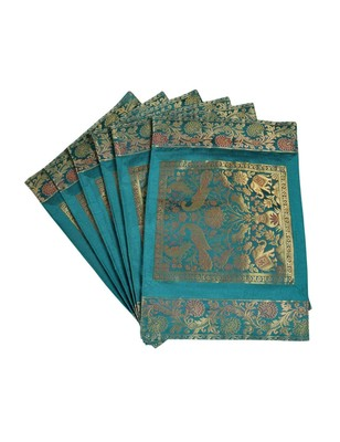 Lal Haveli silk Kitchen Placemats Set for Dining Table Banarsi silk Fabric Kitchen Mat Set of 6 Pieces