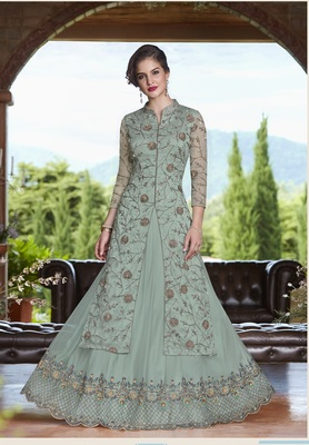 Light-sky-blue embroidered net salwar