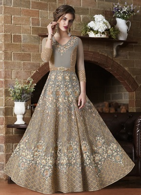 Grey embroidered net anarkali with dupatta